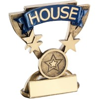 BRZ/GOLD SCHOOL HOUSE MINI CUP TROPHY - BLUE  (1in CENTRE) 3.75in