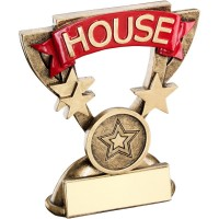 BRZ/GOLD SCHOOL HOUSE MINI CUP TROPHY - RED   (1in CENTRE) 3.75in