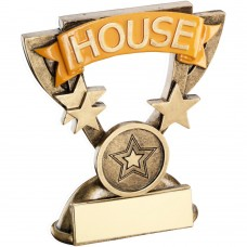 BRZ/GOLD SCHOOL HOUSE MINI CUP TROPHY - YELLOW (1in CENTRE) 3.75in