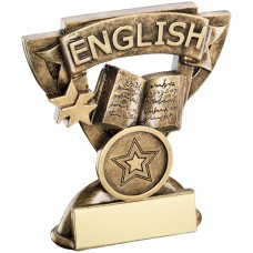 BRZ/GOLD ENGLISH MINI CUP TROPHY - (1in CENTRE) 3.75in