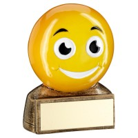 BRZ/YELLOW 'SMILING EMOJI' FIGURE TROPHY -       2.75in