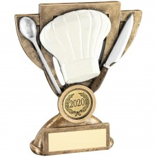 BRZ/WHITE/SILVER COOKING MINI CUP TROPHY (1in CENTRE) - 5in