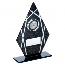 BLACK/SILVER PRINTED GLASS DIAMOND WITH QUIZ INSERT TROPHY - 6.5in