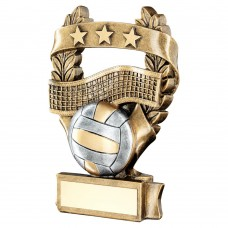 BRZ/PEW/GOLD VOLLEYBALL 3 STAR WREATH AWARD TROPHY - 5in