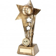 BRZ/GOLD VOLLEYBALL TWISTED STAR COLUMN TROPHY - (1in CENTRE) 7.5in