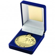 BLUE VELVET BOX AND 50mm MEDAL VOLLEYBALL TROPHY - GOLD - 3.5in