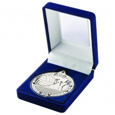 BLUE VELVET BOX AND 50mm MEDAL VOLLEYBALL TROPHY - SILVER - 3.5in