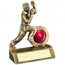 BRZ/GOLD MINI CRICKET BOWLER TROPHY - (1in CENTRE) 3.75in