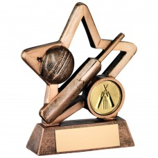 BRZ/GOLD RESIN CRICKET MINI STAR TROPHY - (1in CENTRE) 3.75in
