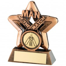 BRZ/GOLD MAN OF THE MATCH MINI STAR WITH CRICKET INSERT TROPHY - 3.75in