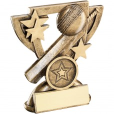 BRZ/GOLD CRICKET MINI CUP TROPHY - (1in CENTRE) 3.75in