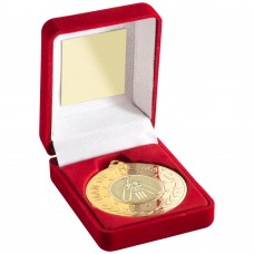 RED VELVET BOX AND 50mm MEDAL WITH CRICKET INSERT 'M.O.T.M' TROPHY - GOLD - 3.5""