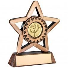 BRZ/GOLD RESIN GENERIC MINI STAR TROPHY (1in CENTRE) - 3.75in
