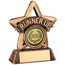BRZ/GOLD RESIN MINI STAR TROPHY - (R UP & 1in CENTRE) 3.75in