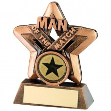 BRZ/GOLD MAN OF THE MATCH MINI STAR TROPHY -  (1in CENTRE) 3.75in