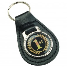 BLACK LEATHER KEY FOB - (1in CENTRE) 2.5in