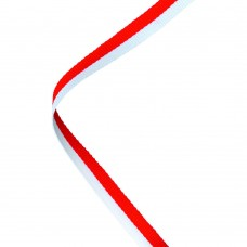 NARROW MEDAL RIBBON RED/WHITE - 30 x 0.4in