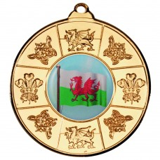 WALES MEDAL (1in CENTRE) - GOLD 2in
