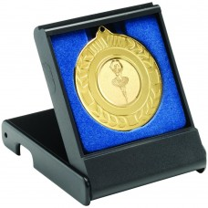 BLACK MEDAL BOX - SMALL (40/50MM RECESS BLUE INSERT) 3.5in