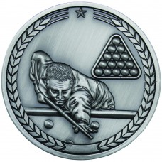 POOL/SNOOKER MEDALLION - ANTIQUE SILVER 2.75in