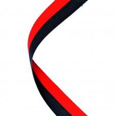 MEDAL RIBBON BLACK/RED - 30 X 0.875in
