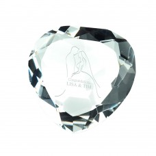 CLEAR GLASS HEART SHAPED PAPERWEIGHT IN BOX - 3in