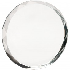 CLEAR GLASS ROUND PAPERWEIGHT WITH FACETED EDGE (19MM THICK) - 3.25in