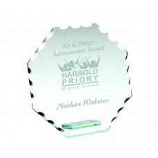 JADE GLASS OCTAGON PLAQUE WITH PATTERNED EDGES (4MM THICK) - 3.75in