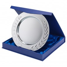 SILVER PLATED IRON SALVER…ROUND WITH LAUREL EDGE - 0.4MM THICK 8in