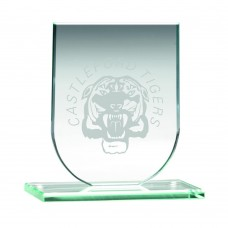 JADE GLASS SHIELD PLAQUE (6MM THICK) - 3.75in